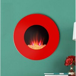 Electric Fireplace Heater Flame Wall Insert Remote Mounted Recessed Stove ✅
