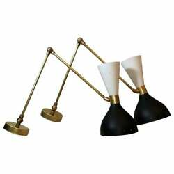 1950' S Mid Century Brass Monolith Wall Sconce Lamp Lighting Sconce Set Of Two