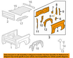 Gm Oem Pick Up Box Bed-side Panel Right 15283897