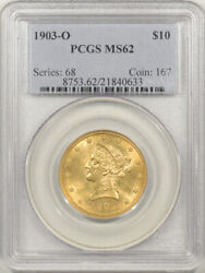 1903-o 10 Indian Gold Pcgs Ms-62 Premium Quality