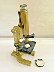 Antique All Brass Bausch And Lomb Optical Company Microscope