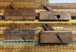Antique Wood Hand Planes Ohio Tool Auburn Tool Josiah King And Unmarked Lot Of 4
