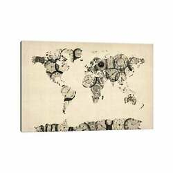 Icanvas Map Of The World Map From Old Clocks By Michael Small