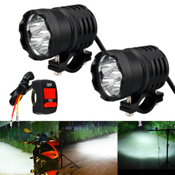 2pcs Motorcycle Led Spot Lights 60w Super Bright Fog Lamps W/ Switch Accessory