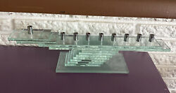Vintage Clear Stacked Glass Menorah