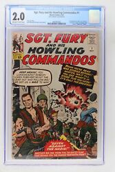 Sgt. Fury And His Howling Commandos 1 - Marvel 1963 Cgc 2.0 1st App Nick Fury