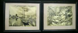 Lot Of 2 Vintage Gold Foil Etching Art Prints By Lionel Barrymore Farm And Waters