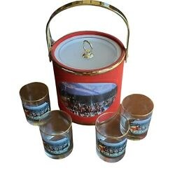 Budweiser Anheuser-busch Red Ice Bucket Clydesdale Mural With Matching Glasses