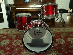 Camco Drum Set-oaklawn Era-vintage 60and039s-3 Pc. Red Sparkle-shell Pack Beauty