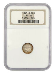 1851-o 3cs Ngc Ms65 Oh - 3-cent Silver - Popular And Scarce O-mint Trime