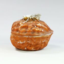 Collectible Antique French Vallerysthal Opaline Glass Trinket Box Fly On Nut
