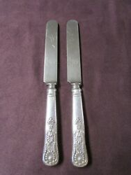 Us Navy Silverplate 2 Knives Kings Pattern World War Ii Fouled Anchor On Blade