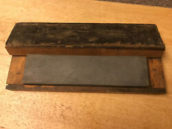 Vintage Sharpening Stone With Wooden Box 8 X 2 X 1 Unbranded