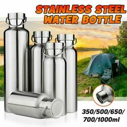 Stainless Steel Water Bottle Outdoor Camping Hiking Flask Mugs Sports Gym Tra J/