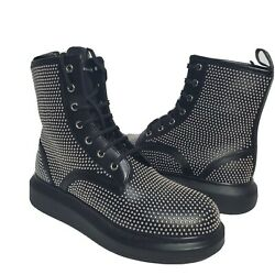 Alexander Mcqueen Women Boots Studded Lace-up Ankle Combat Leather Us 10 40 New