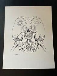 Alex Pardee Original Painting The Console Warrior Xbox One Controller 11x14 Rare