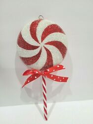 Christmas Candy Cane Peppermint 8.25quot; Lollipop Swirl Red White Tree Ornaments