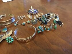 Native American Navajo Sterling Silver Turquoise Vintage Jewelry Lot