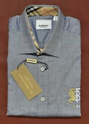 NWT Brand New With Tags Men#x27;s BURBERRY Long Sleeve Slim Fit Shirt $64.90