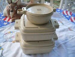 Vintage Littonware 6 Pc Casserole Dishes And Lids And Soup Bowl Microwavable