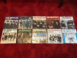 Lot Of 10 Beach Boys And Beatles 45s Records W/ Picture Sleeves Vg++