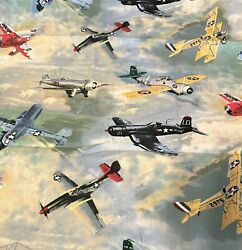 Airplanes In The Clouds Cotton Fabric 2 Yards 45 Width