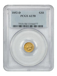 1852-d G1 Pcgs Au58 - Desirable Branch Mint Issue - 1 Gold Coin