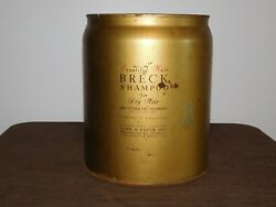 Vintage 13 1/2 High 1950s Large Breck Shampoo For Hair Metal Tin Can Empty