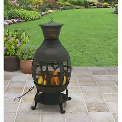 Cast Iron Outdoor Chiminea With Mesh Screen Cover Antique Bronze