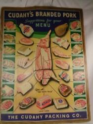 Rare Vintage Cudahy's Branded Pork 1940's Meat Market Store Poster Sign