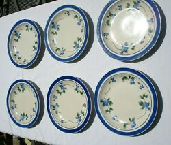6 Retired Ll Bean Blueberrry Dinner Plates And 4 Bowls - Preowned - Oven To Table