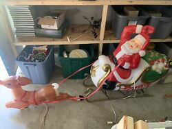 Vintage Christmas Santa In Sleigh W/toys And Reindeer Lighted Blow Mold Huge Rare