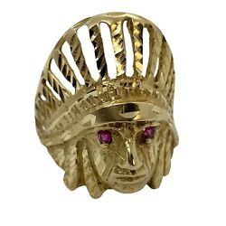 Estate 14k Gold Native American Indian Chief Rubies Eyes 10.4 Grams Size 9.75