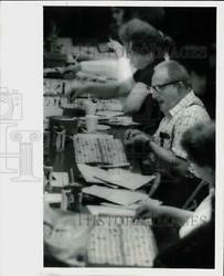 1982 Press Photo People playing Bingo at Mecerville Fire Company New Jersey