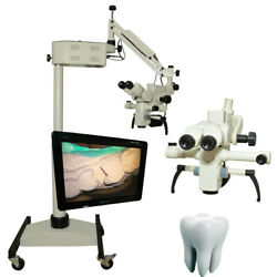 5 Step Ceiling Mount Dental Microscope-with Beam Splitter Ccd Camera Led Monitor