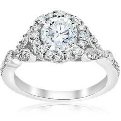 1 3/8ct Vintage Enhanced Diamond Halo Engagement Ring 14k White Gold Solitaire