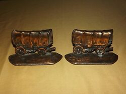 Vintage Old Western Cowboy W H Howell Co Pioneer Wagon Metal Bookends