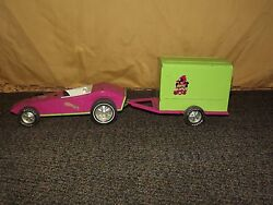 Vintage Toy 19 Long Metal Nylint Road Runner Pink Green Car And Trailer