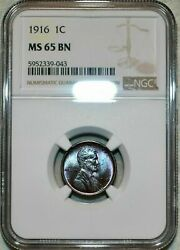 1916-p Lincoln Wheat Cent Ngc Ms 65 Bn Stunning High Grade Choice Color Toned