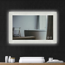 Led Bathroom Mirror - Wall Mounted Vanity Mirror With Anti-fog, 48x36 Inch Led And