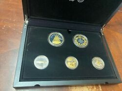 2018 Canada Legacy Of Dime .999 Fine Silver Gold-gilt 5-coin Set Special Ed Jr17