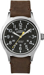 Timex Menand039s Twc004500 Expedition Scout 40mm Black/brown Leather Strap Watch