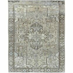 9'8x12'3 Brown Semi Antique Farsian Heris Stone Wash Hand Knotted Rug R60139
