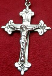 Catholic Bishops Vintage Cawley Sterling Silver Rosary Cross Crucifix Pendant