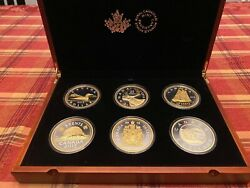 2015 Big 6 Coin Series 99.99 Silver With Gold Plating Mint Coaand039s Case Jr37