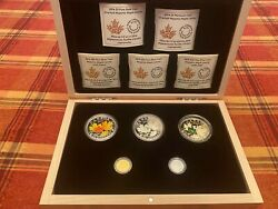 2014 And039majestic Maple Leaves 5 Coin Set Of Silver Platinum Gold Jr43