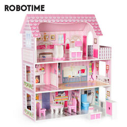 Girls Gift Dream Wooden Pretend Play Doll House Kids Dollhouse W/ Furnitures