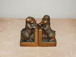 Vintage Desk 5 3/4 High Puppies Puppy Dog Metal Bookends