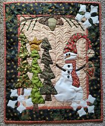 Three Snowflakes Wall Hanging Quilt New Handmade