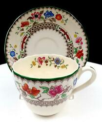 Spode England 2/9253 Imperial Ware Chinese Rose 3 Flat Cup And Saucer 1913-2006